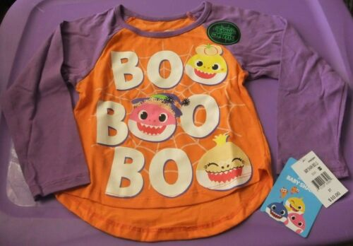 NWT Toddler Girl 2T, 3T, 5T HALLOWEEN Shirt Long Sleeve BABY SHARK Orange