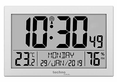 Funkuhr Technoline WS 8016 Funk-Wand-Uhr Temperaturanzeige Kuststoff Silber