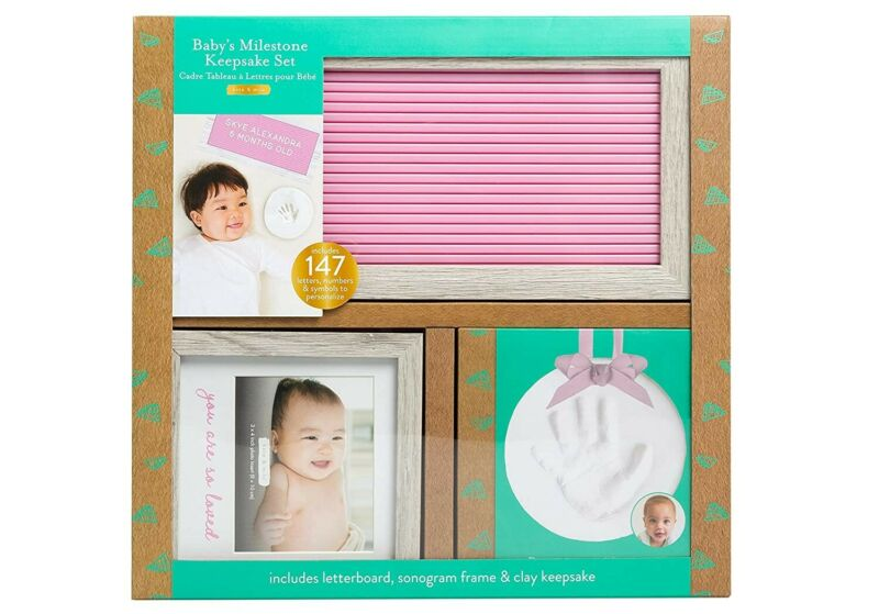 Baby Gift Set, Includes Letterboard, Hand or Footprint Ornament & Picture Frame