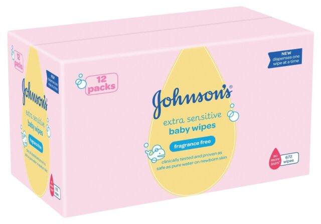 Johnson's Baby Extra Sensitive Fragrance Free Wipes - Pack of 12 Total 672 Wipes