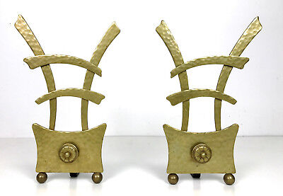 Unique Vintage Asian Hammered Brass & Iron Fireplace Andirons Mid Century Modern