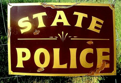 Vintage Rustic Painted STATE POLICE STATION Department Sign Law Highway Patrol