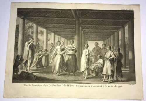 TAHITI ULIETEA 1780 JAMES COOK LARGE ANTIQUE ENGRAVED VIEW 18TH CENTURY