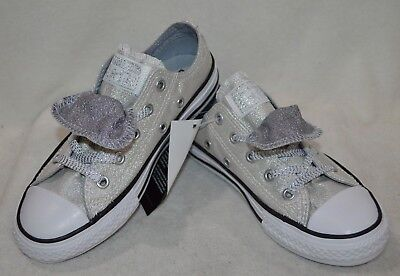 Converse Girl's CT Double-Tongue OX White/Silver/Grey Sneakers-Assorted Size NWB Double Tongue Ox Shoes