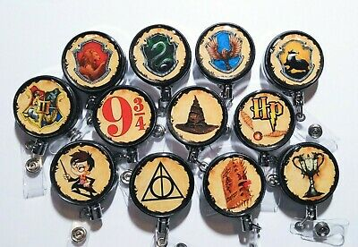 Harry Potter Badge Reel Id Holder Or Stethoscope Id Tag - Hogwarts - Hufflepuff