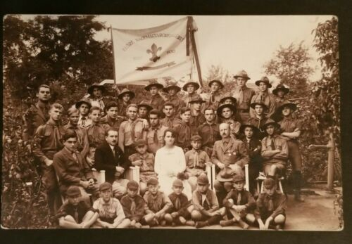 1938 Mint Vintage Kőszeg Hungary Boy Scouts Troop Photo Real Picture Postcard