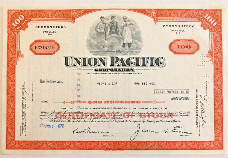 Union Pacific > 100 share railroad stock certificate
