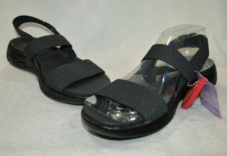 Skechers Womens On The Go 600 Ideal Black Slide Sandals - Sizes 8/9 NWB