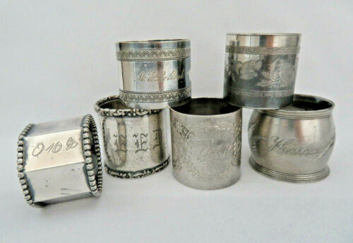 6 Piece Antique Victorian Silver Plate Napkin Rings ~ Assorted Lot