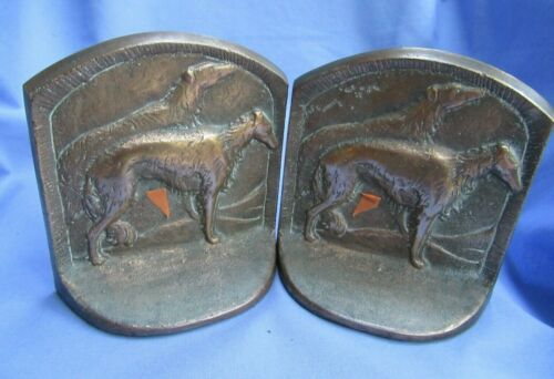 """BRONZE BORZOI BOOKENDS 5"""" DOGS MARKED N.Y.B."""