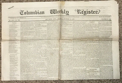 Antique Newspaper  December 4 1869  Columbian Weekly Register  New Haven  Conn