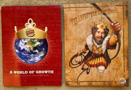 Burger King annual reports 2007 & 2008 stock market collectible shareholders
