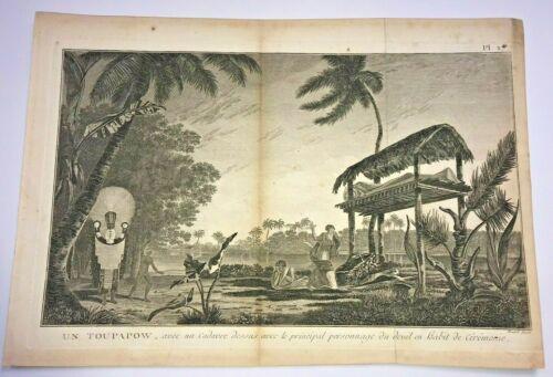 TAHITI TOUPAPOW 1780 JAMES COOK LARGE ANTIQUE VIEW 18TH CENTURY