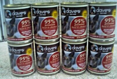 95% Beef Dog Food - Dave's Premium Beef & Chicken 95% Meat For Dogs, 13 Oz Can lot of 8 dated 2021