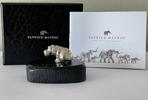 RARE! Solid Sterling Silver 925 Patrick Mavros Hippo Figure On Blackwood Base