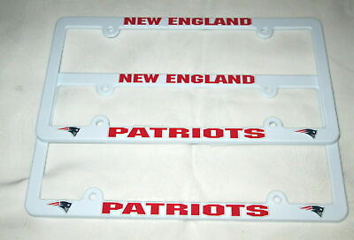 TWO (2) NEW ENGLAND PATRIOTS EMBOSSED LICENSE PLATE FRAMES #8 - NEW