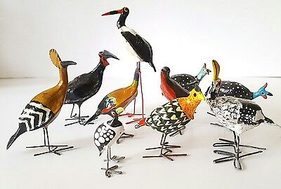 Set of wire & papier mache folk art birds, ethnic, painted bird figurines