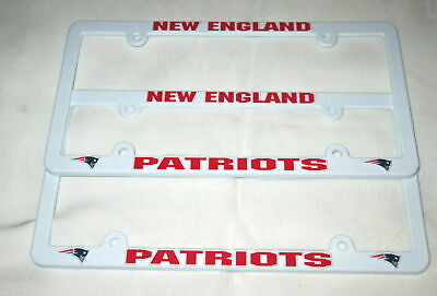 TWO (2) NEW ENGLAND PATRIOTS EMBOSSED LICENSE PLATE FRAMES #3 - NEW