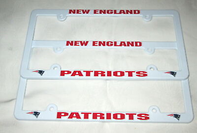 TWO (2) NEW ENGLAND PATRIOTS EMBOSSED LICENSE PLATE FRAMES #16 - NEW