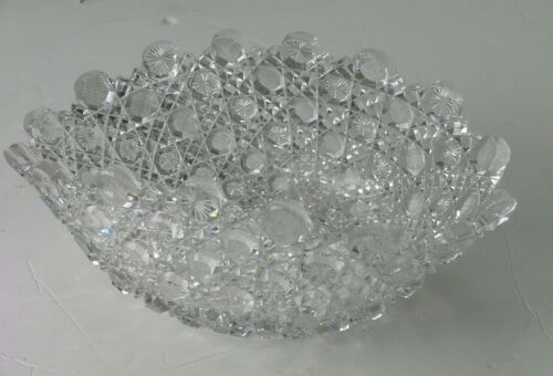 """Vintage Oval Cut Glass Crystal Bowl Pinwheel & Button Heavy and Sharp 13"""""""