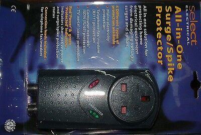 Con Enchufe Red Eléctrica Pua & Oleada Protector Teléfono TV Antena Ordenador