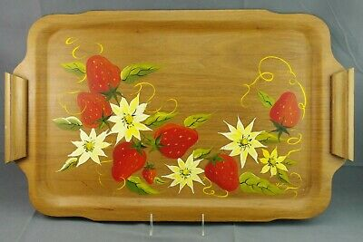 VINTAGE HAND PAINTED WOODEN TRAY STRAWBERRY FLOWERS KITSCHY SIGNED V WOOD