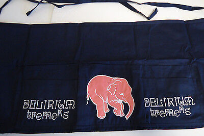 Delirium Tremens Beer Bartender Waiter Apron Blue w/ Pink Elephant Embroidered