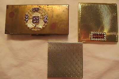 LOT OF 3 VINTAGE LADIES COMPACTS CIGARETTE BOXES RHINESTONES MOTHER of PEARL