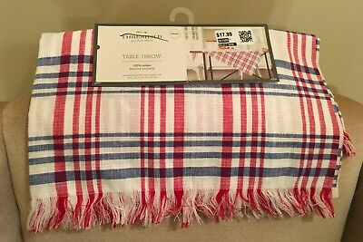 Red Plaid Tablecloth (THRESHOLD RED WHITE & BLUE PLAID 50X50 COTTON FRINGED TABLE THROW TABLECLOTH)