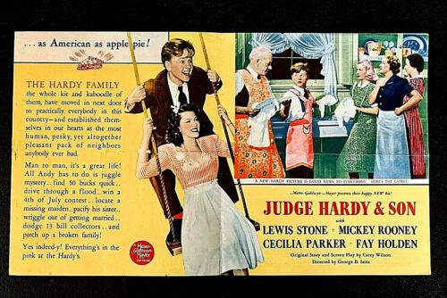 JUDGE HARDY AND SON 1939 ORIGINAL MOVIE HERALD - MICKEY ROONEY
