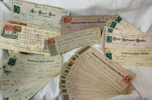 31 Genuine 19th Century Checks With Tax Stamps 1867-1900