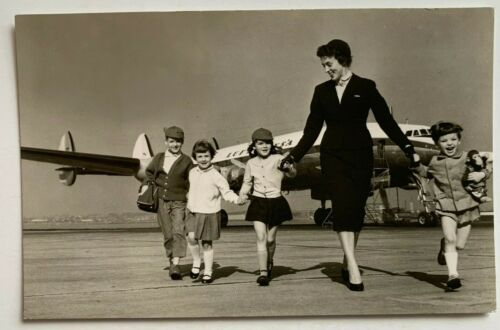 RPPC Postcard Lufthansa Airlines Lockheed Super G plane flight attendant w/kids
