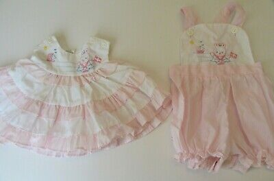 Baby Girl Bib Short Pink & White Sailor Bear With Dress Top Size 6-9 Months