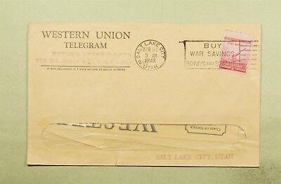 Dr Who 1943 Salt Lake City Ut Slogan Cancel Western Union Telegram  D19115
