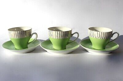 KAHLA Porcelain Demitasse Coffee Cups & Saucers Set of 3 GDR Mid Century 1950s