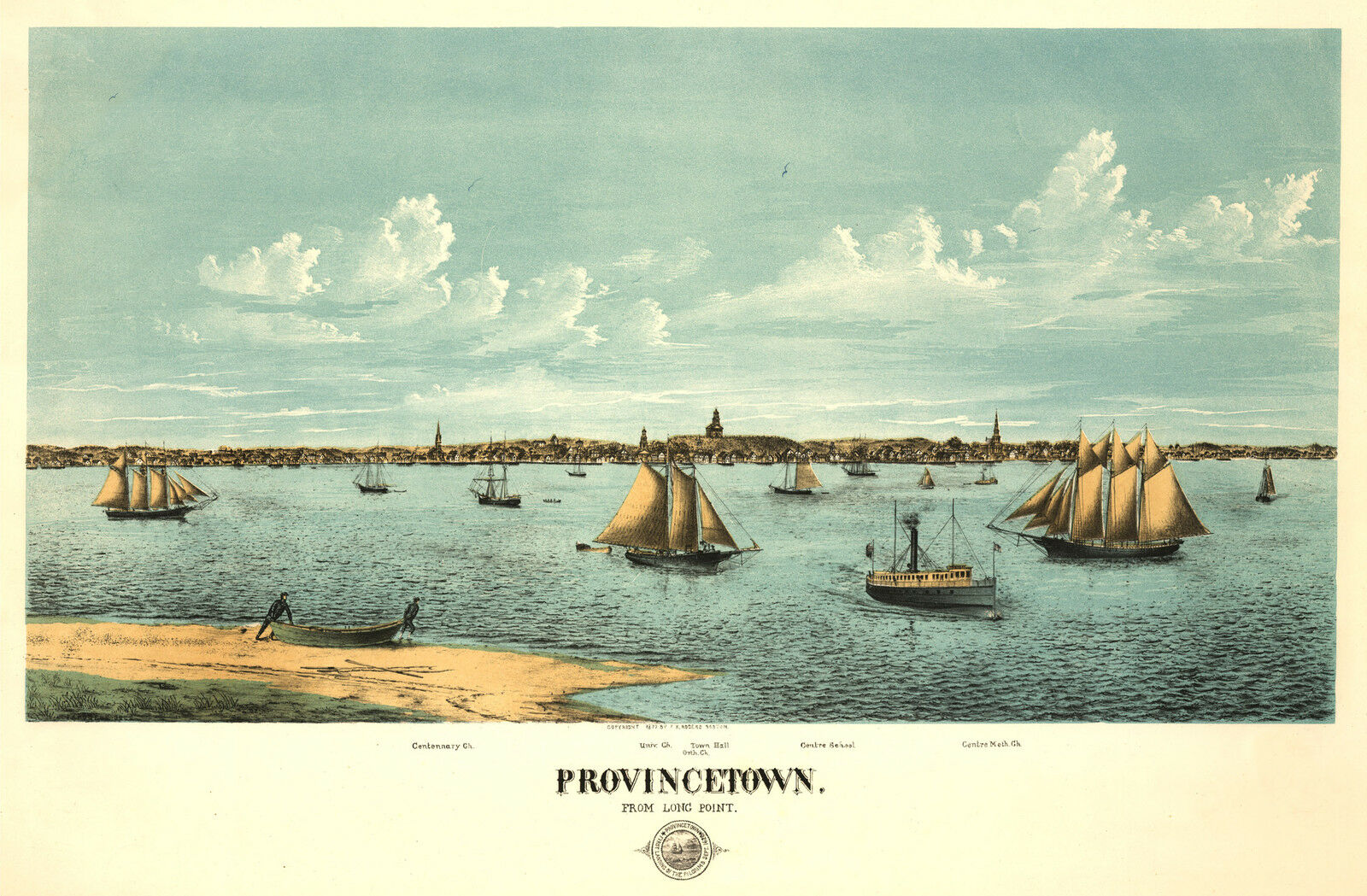 1877 Provincetown, Massachusetts City View, New England, Cape Cod, Sail Boats