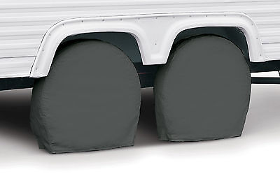 "RV Trailer Wheel Storage Covers 24"" to 26.5"" Tall Tire - Pack of 2 - Grey"