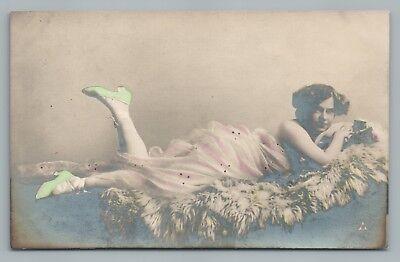 Pretty Girl on Fur Rug RPPC Green Shoes—Antique Woman Studio Photo RADIUM 1910