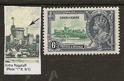 GOLD COAST 1935 6d SILVER JUBILEE EXTRA FLAGSTAFF VARIETY SG115a FREH MINT