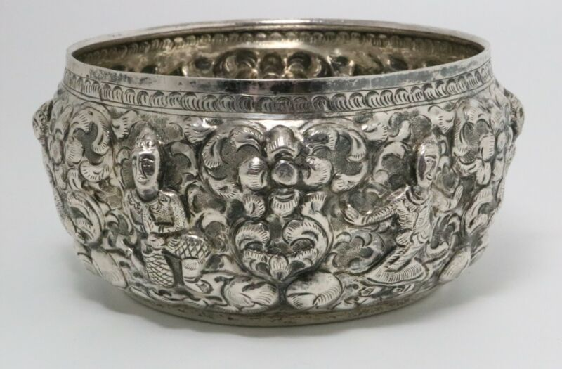 Thai Silver Bowl Old Burmese Traditional Embossed Design Carries Marks