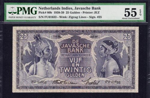 Netherlands Indies, JAVASCHE Bank 25 Gulden 1938 Pick-80b Almost UNC PMG 55 EPQ