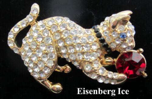 Vintage Eisenberg Ice Rhinestone Cat Kitty Pin Brooch