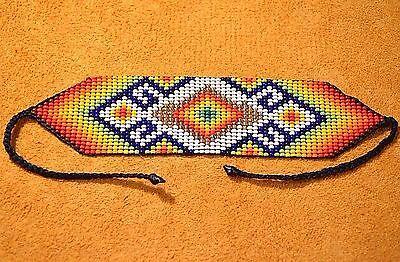 Loom Work Beaded Bracelets - Glass Seed Bead Loom Work Beadwork Ceremonial Bracelet Colombia, South America