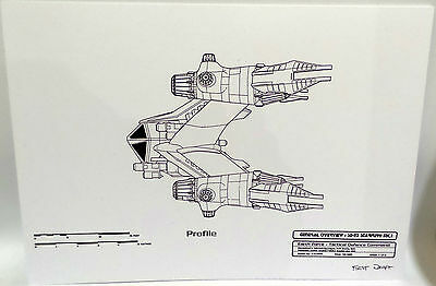 BABYLON 5 : SET OF 5 A4 CARDED BLUEPRINTS - STARFURY & BABYLON 5 STATION