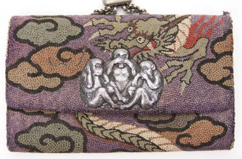 Antique Japanese Sagemono Coin Purse Three Wise Monkeys Silver Dragon Netsuke