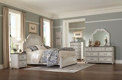 FRENCH PROVINCIAL STYLE ANTIQUE WHITE QUEEN BED BEDROOM FURNITURE