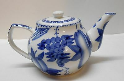 Teapot with Pears Apples Grapes Fruit Blue and White Porcelain Nantucket