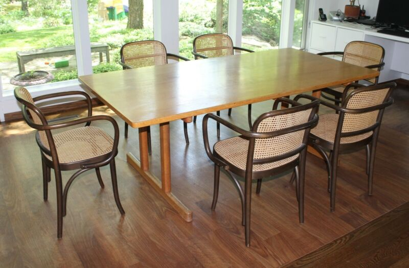 set of 8 vintage Thornet Craftsmen Cane Dining Room arm chairs