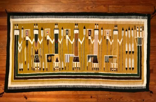 FINE NAVAJO RAINBOW YEI RUG,FANTASTIC VARIEGATED BACKGROUND,EXCEPTIONAL CONDITIO