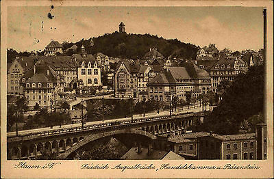 Plauen Sachsen Vogtland AK 1927 Friedrich August Brücke Handelskammer Bärenstein